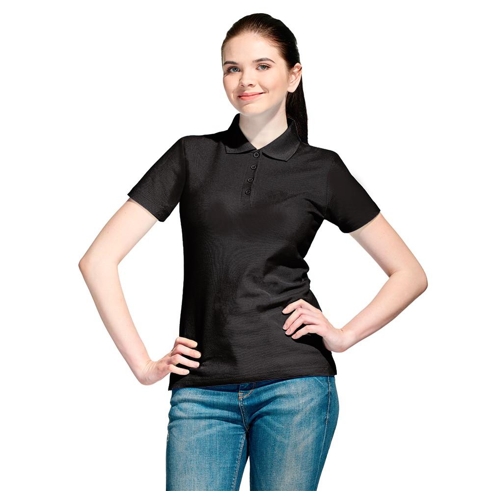 Женская рубашка поло с именной вышивкой (Черный)