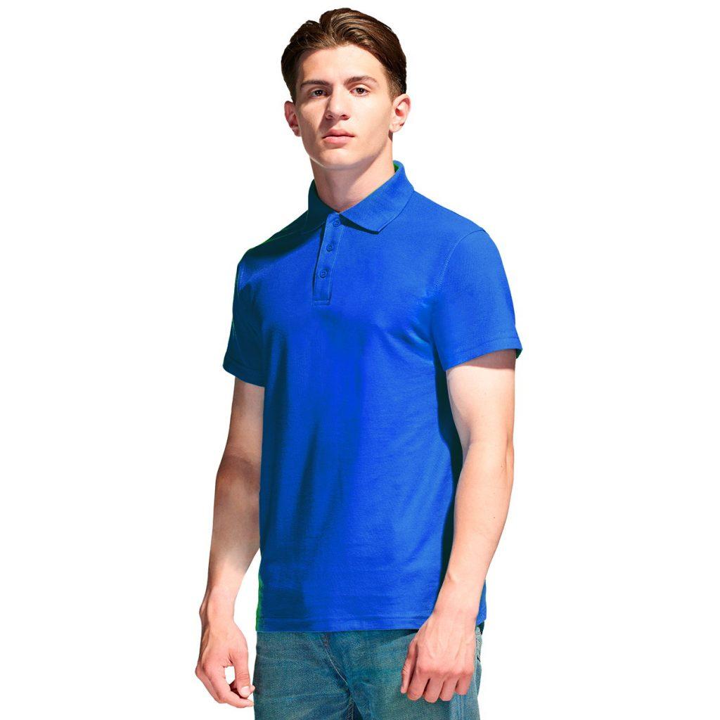 Мужская рубашка поло с именной вышивкой (Синий)